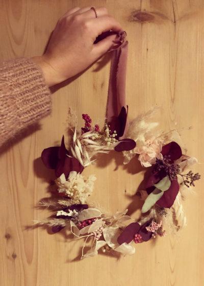 Lou - Couronne de fleurs séchées et stabilisées - Atelier Graine de Prairie